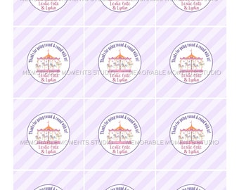 PRINTABLE FAVOR TAGS Carousel Party Favor Tags - Purple and Pink - Memorable Moments Studio