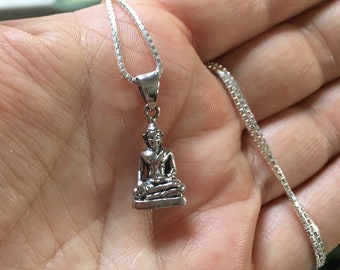 Sterling Silver Sitting Buddha Necklace