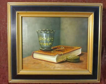 Beautiful Still Life Painting of Books and a Vase