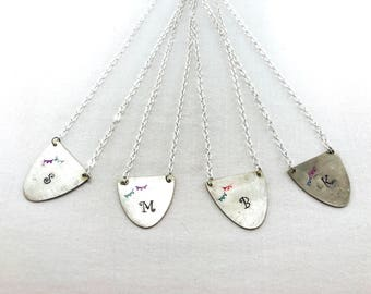 Spoon monogrammed necklace... customizable necklace with fun banners on it... up cycled spoon jewelry... vintage spoons made into necklaces