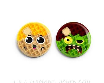 Waffle Pinback Button, Zombie, Breakfast Button