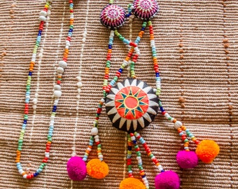 Hmong Beads Pompom Necklace/ Ethnic / Hippie / Tribal/Whole Sale