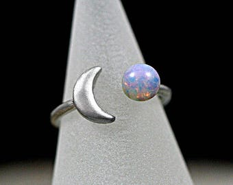 Crescent Moon Ring with genuine vintage fire opal stone. Fully adjustable. Stackable. Hand patinated silver ring.