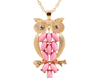 Vintage Pink Owl Pendant Necklace with Rhinestones