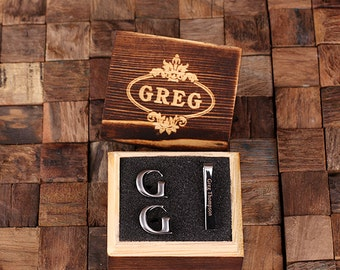 "Initial "" G "" Personalized Men's Classic Cuff Link & Tie Clip with Wood Box Monogrammed Engraved Groomsmen, Best Man, Father's Day Gift"