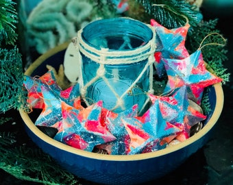 Mondern Abstract Colorful and Glittery Christmas Stars - Set of 8 Hand Painted Ornaments