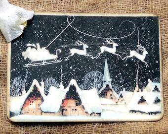Santa Sleigh Reindeer Christmas Gift or Scrapbook Tags or Magnet #80