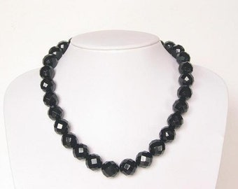 Necklace Black onyx  14mm Round Facet Beads NSNX0094