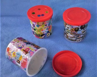 Decora Fashion Inspired Stickered Recycled Icing Three Small Storage Container Set