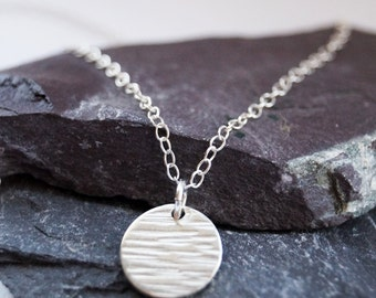 Sterling Silver Hammered Disc Necklace ~ minimal, modern, delicate, bridesmaid, wedding