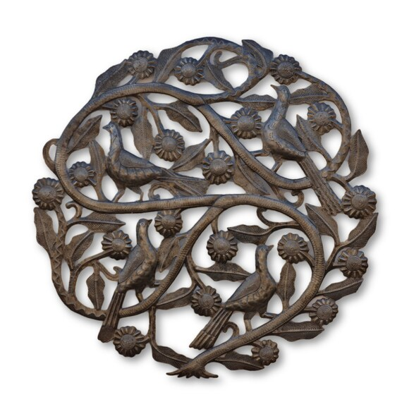 Flower Tree of Life, Handmade Haitian Metal Art, One-of-a-Kind Quality Sculpture, 23x23