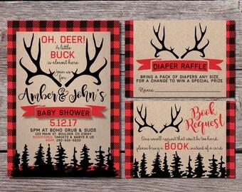 Hunter Baby Shower Invitation   Hunting Baby Shower Invitation   Wilderness   Antler Baby Shower   Deer   Elk   Little Buck   Red Plaid