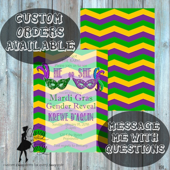 Gender Reveal Party, Mardi Gras Gender Reveal Invitation, Mardi Gras Invitation, Mardi Gras Baby Reveal 191