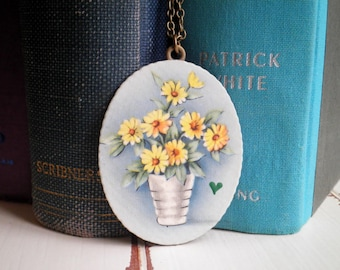 Vintage Flower Pot Potted Plant Necklace - 1940s Floral Greeting Card / Paper Ephemera Flowers & Tiny Heart Long Chain Pendant Jewelry Gift