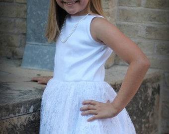 Chloe Dress / White Girls Gown / Jr Bride Dress / Flower Girl Dress  / First Communion / 2t 3t 4t 5 6 7 8 / 000129