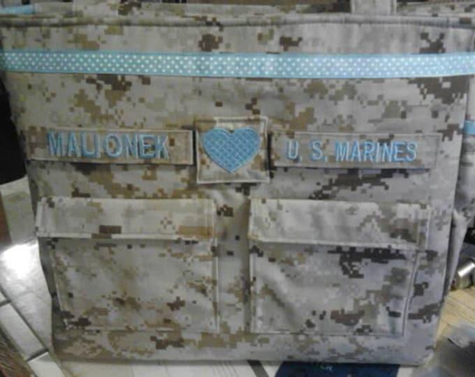 Marine diaper bag military camo diaper bag your choice words colors trims woodland or desert marine fabric custom personalized for you