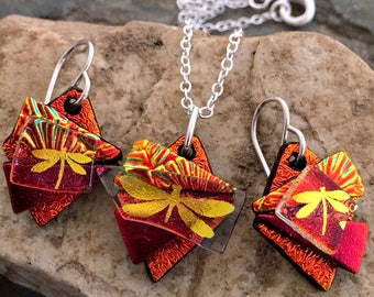 Unique 3D Dichroic Glass Earring and Small Pendant Matching Set Red & Gold Dragonfly