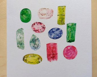 Beryl gemstone group greetings card
