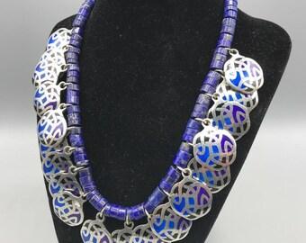 Handmade Cloisonne Pendant & Glass Bead Necklace