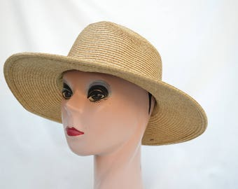 Fedora Sun Hat / Womens Straw Fedora Wheat Tweed Color  Brim Hat / PackableTravel Hat /  Crushable Sun Hat / Summer Fedora Hat