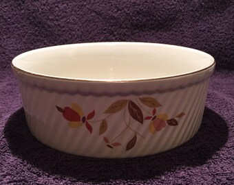 Hall China Jewel Tea Autumn Leaf 3 Pint French Baker Round Casserole Dish 7-3/4""