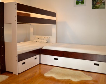 L-Shaped bunk bed combination