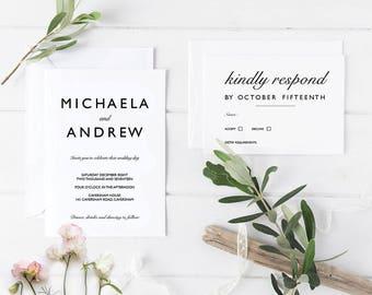Wedding Invitation Template / Wedding Invitation Suite / Invitation Set / Invites Set / Minimalist Wedding Invite