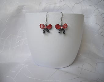 Earrings, vintage, red and black paper, quilling