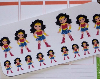 Wonder Woman stickers for Erin Condren Planner, Happy Planner, Plum Paper, and many other planners, or just for fun!
