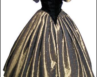 1800's Civil War Victorian Ball Gown Dress NEW Gorgeous Taffeta and Velvet