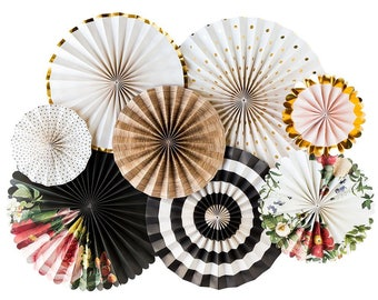 Boho Party Fans - Party Paper Fans - Barn Wedding Party Decor - Paper Lollies - Photo Backdrop - Birthday Party -Floral Party BTP401