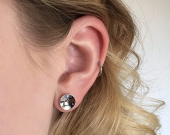 Domed Silver Earrings, Concave Sterling Silver Studs, Mirror Finish Earrings