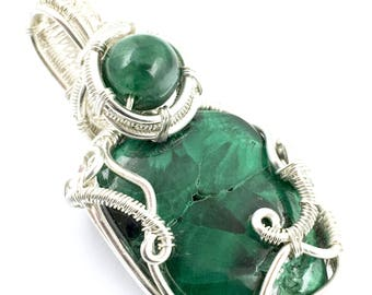 Chatoyant Malachite gemstone pendant with Green Jade, wire wrapped in fine silver. Becoming Positive Then Paying it Forward