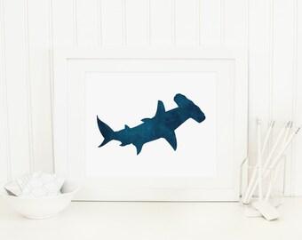 Shark Printable Nautical Wall Art Navy Shark Print Navy Nursery Decor Nursery Nautical Decor Shark Wall Art Fish Print Boy Nursery Decor