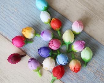 12 Ranunculus Buds-Silk Flowers-Ranunculus Buds Artificial Flowers Silk Flowers Artificial Buds Craft Flowers Wedding Flowers Flower Crown