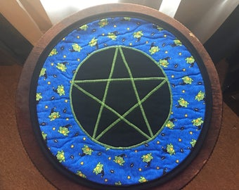Round Altar Mat - Witchy Frogs