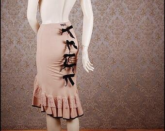 Powder beige silk crepe flounce skirt fishtail mermaid velvet bows size S