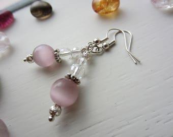 Pink Cats Eye & Crystal Drop Earrings Handmade
