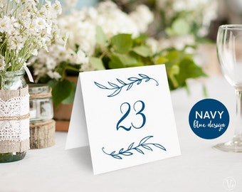Wedding Table Numbers 1–40, Navy Blue Wedding Table Numbers Template, Reserved and Head Table Signs Included, Tent Style, TN08, VW00