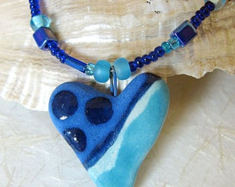 Heart of Blue Necklace Handmade Pendant