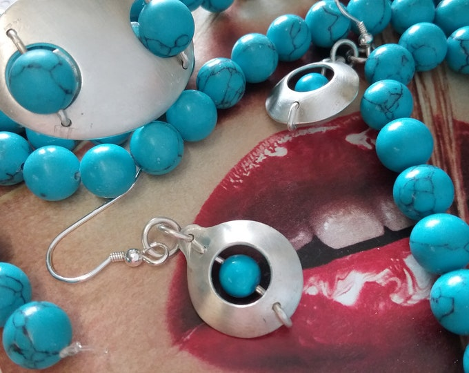 Silver Turquoise Planet Earrings