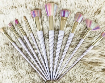10pcs - The Original Sapphire Cosmetics Unicorn Makeup Brush Set - UK Seller