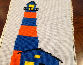 LIghthouse needlepoint  bright funky colors blue
