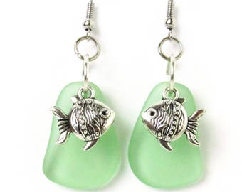 Sea Glass Earrings, Goldfish Earrings, Beach Glass Jewelry, Dainty Dangle Earrings, Beach Earrings, Coastal Earrings, Beach Jewelry