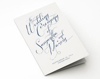 Wedding Ceremony Program /Order of Service - Rustic, Nautical, Elegant, Boho Chic - Printable Bi-Fold Custom Template w/ Unlimited Revisions