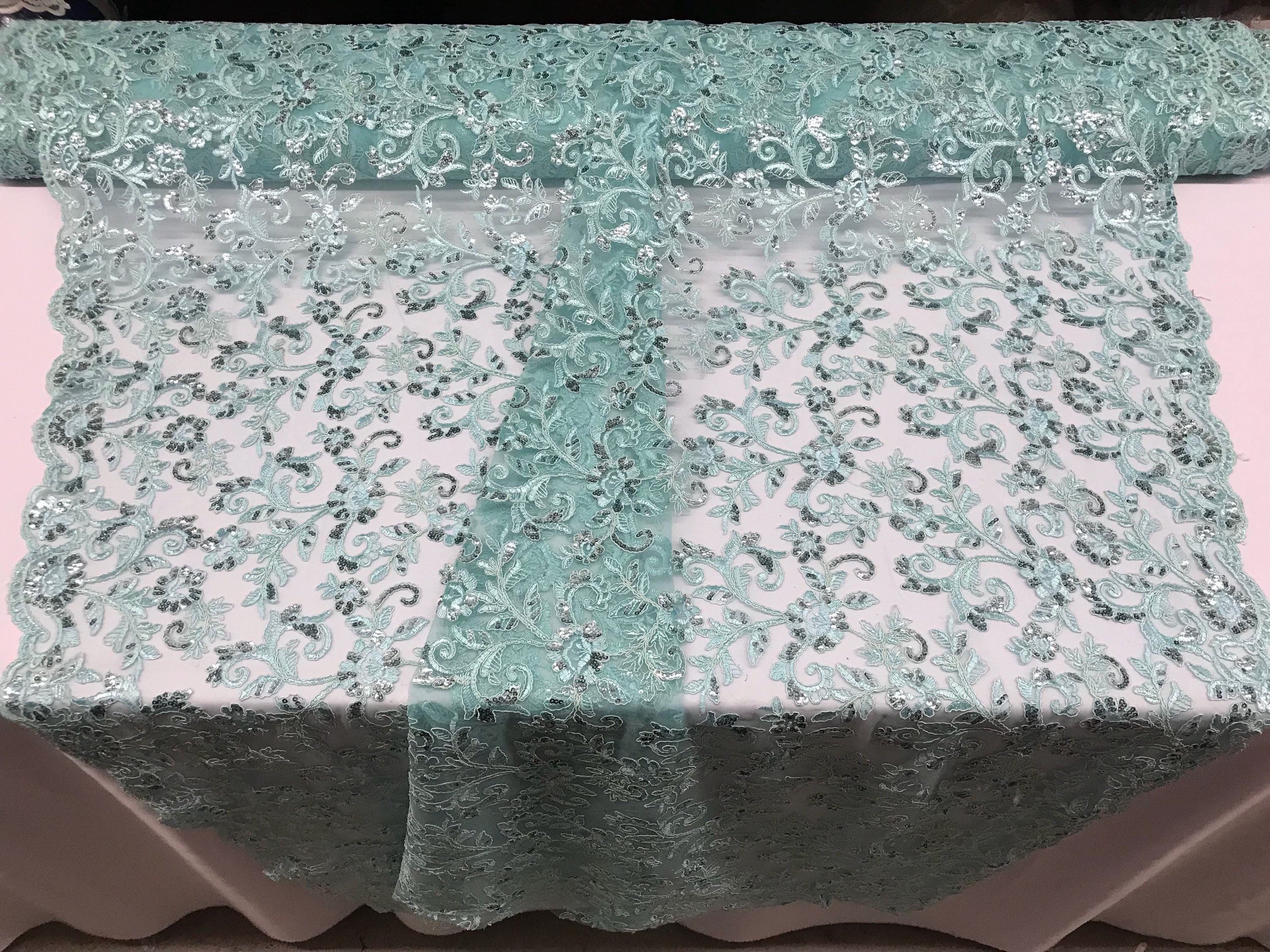 Supreme Mint Lace Fabric - By THe Yard Bridal Veil Corded Flowers ...