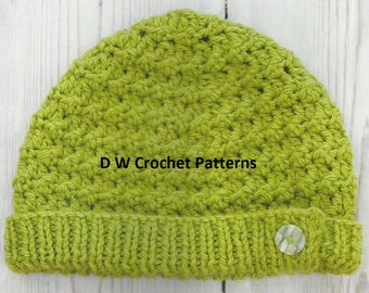 Crochet Ribbed Hat Crochet PDF Pattern Instant Download