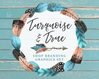 Rustic Wood Bohemian Shop Branding Cover Photo Banners, Icons, Business Card, Logo Label + More - 13 Premade Graphics - TURQUOISE & TRUE