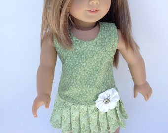SALE 18 inch Doll Dress,  Pale Olive Green Pleated Dress,  made to fit 18 inch dolls such as American Girl and similar 18 inch dolls