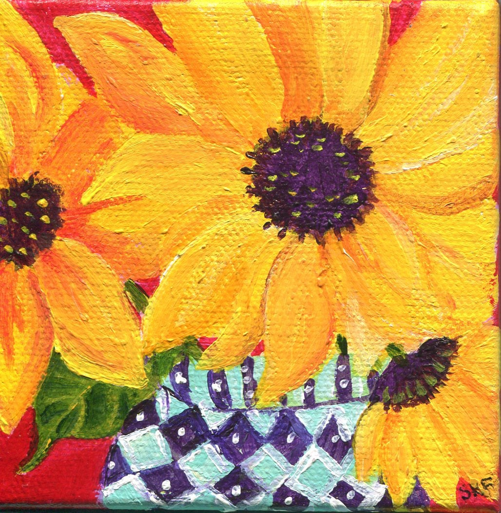 Sunflowers painting Sunflower Art Easel blue and white
